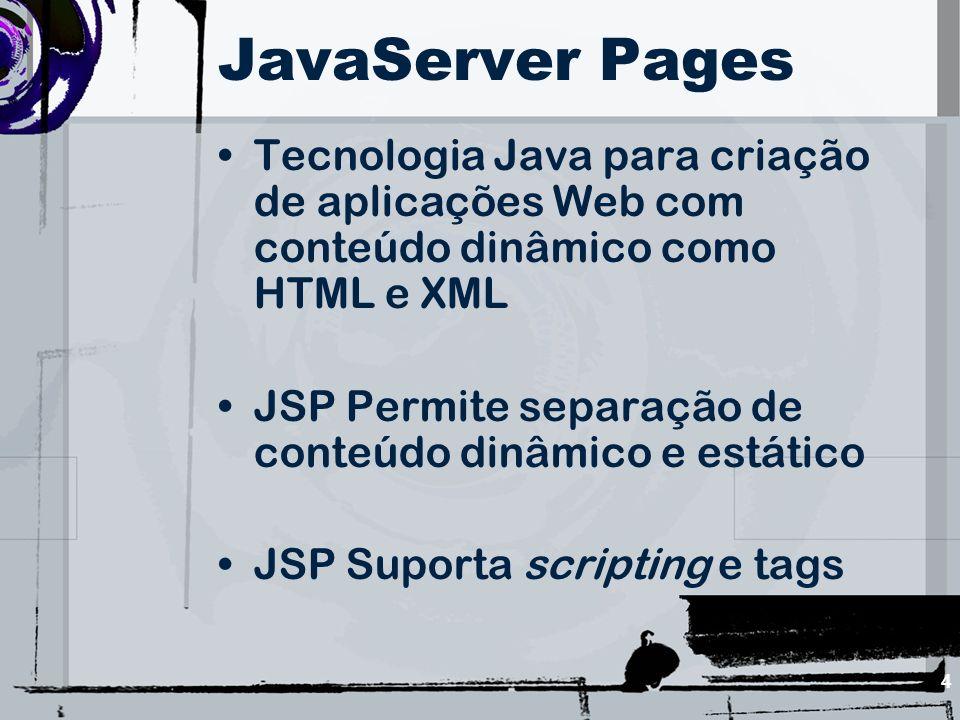 JavaServer Pages Tecnologia Java para criação de aplicações Web com conteúdo dinâmico como HTML e XML.
