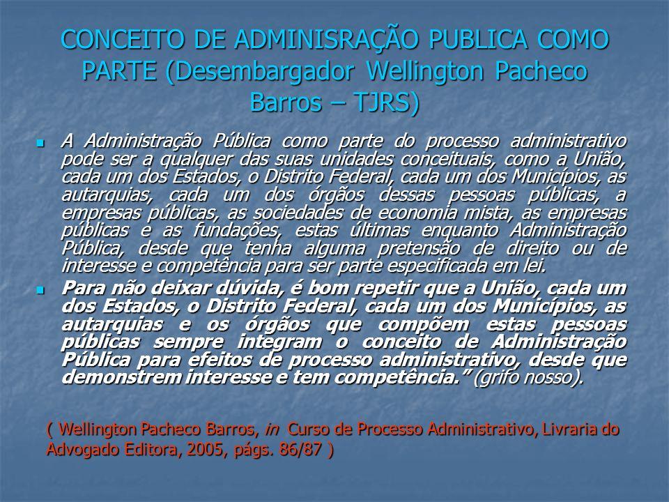 CONCEITO DE ADMINISRAÇÃO PUBLICA COMO PARTE (Desembargador Wellington Pacheco Barros – TJRS)