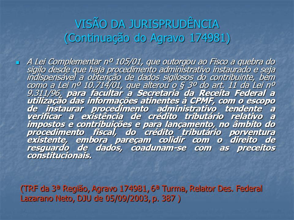 VISÃO DA JURISPRUDÊNCIA (Continuação do Agravo 174981)