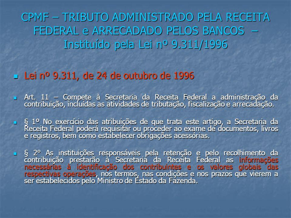 CPMF – TRIBUTO ADMINISTRADO PELA RECEITA FEDERAL e ARRECADADO PELOS BANCOS – Instituído pela Lei nº 9.311/1996