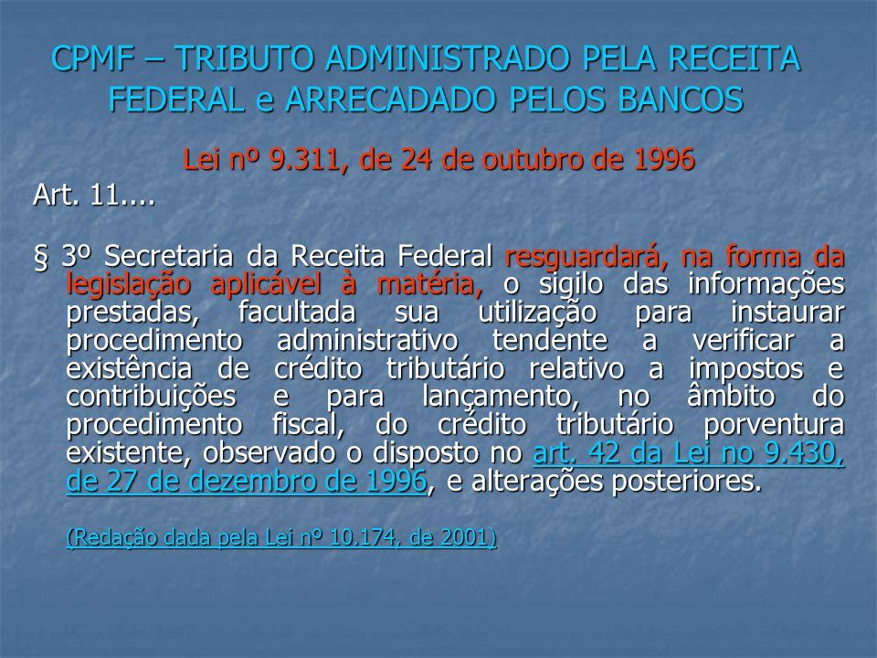 CPMF – TRIBUTO ADMINISTRADO PELA RECEITA FEDERAL e ARRECADADO PELOS BANCOS