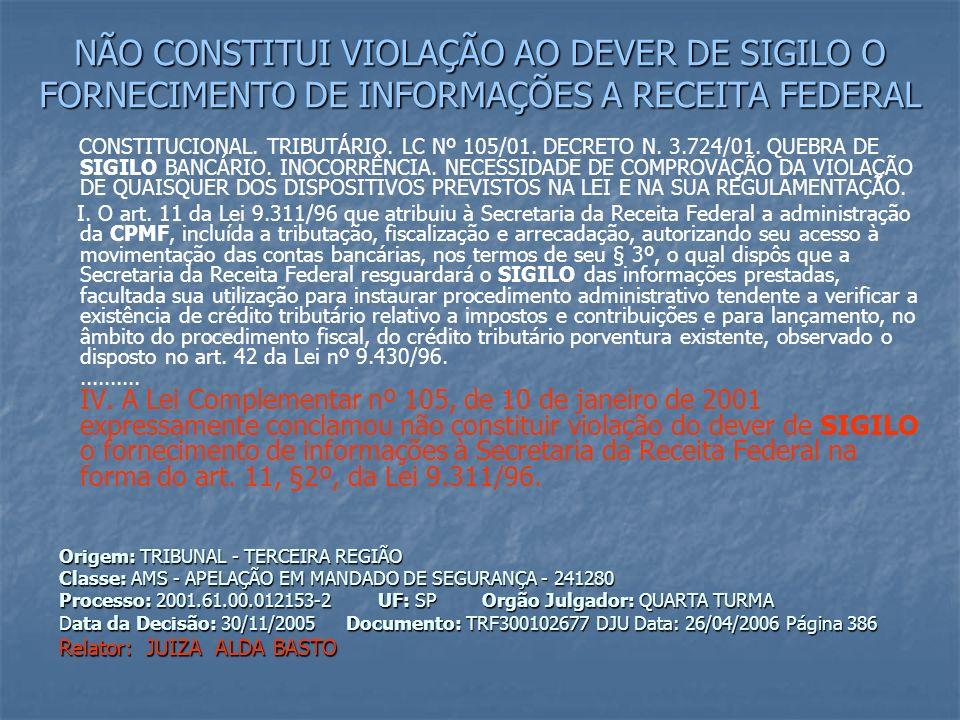 NÃO CONSTITUI VIOLAÇÃO AO DEVER DE SIGILO O FORNECIMENTO DE INFORMAÇÕES A RECEITA FEDERAL