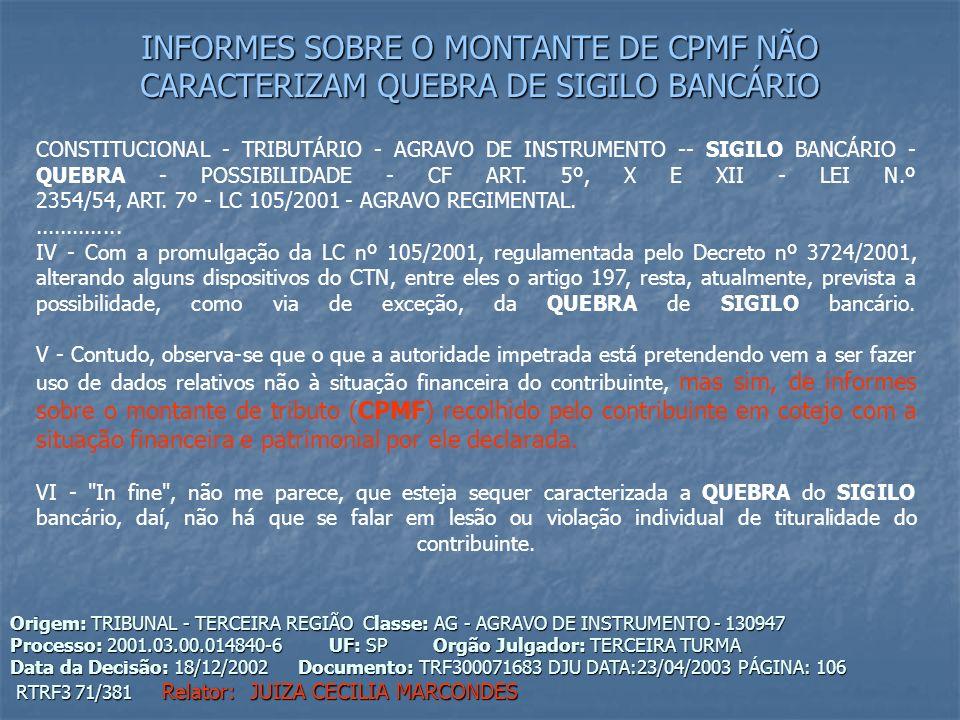 INFORMES SOBRE O MONTANTE DE CPMF NÃO CARACTERIZAM QUEBRA DE SIGILO BANCÁRIO