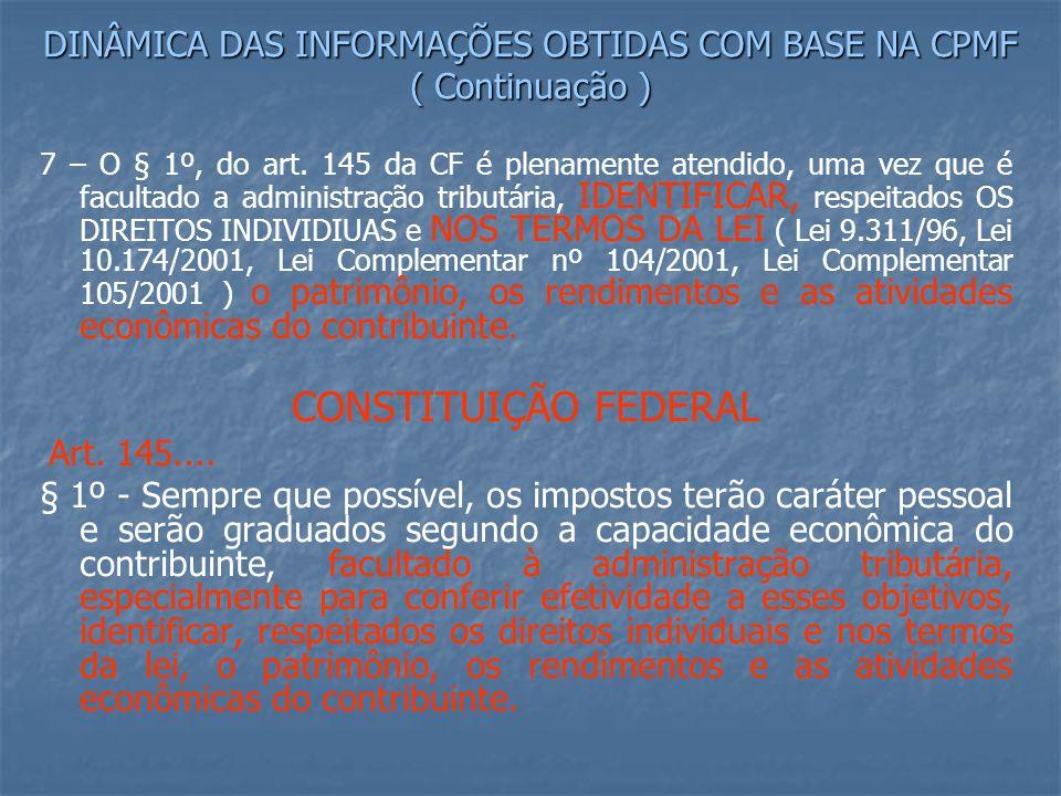 DINÂMICA DAS INFORMAÇÕES OBTIDAS COM BASE NA CPMF ( Continuação )
