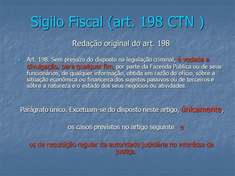 Sigilo Fiscal (art. 198 CTN )