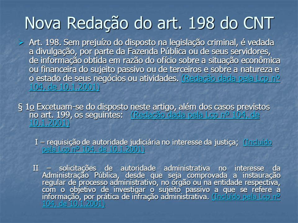 Nova Redação do art. 198 do CNT