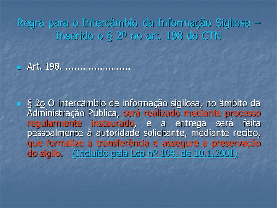 Regra para o Intercâmbio da Informação Sigilosa – Inserido o § 2º no art. 198 do CTN