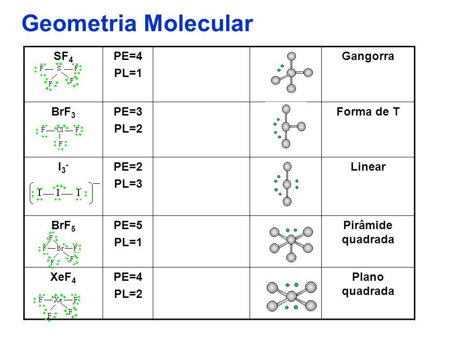 Geometria Molecular SF4 PE=4 PL=1 Gangorra BrF3 PE=3 PL=2 Forma de T