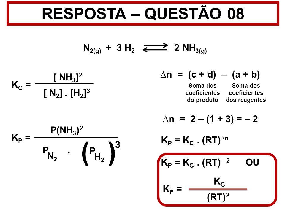 Soma dos coeficientes do produto Soma dos coeficientes dos reagentes