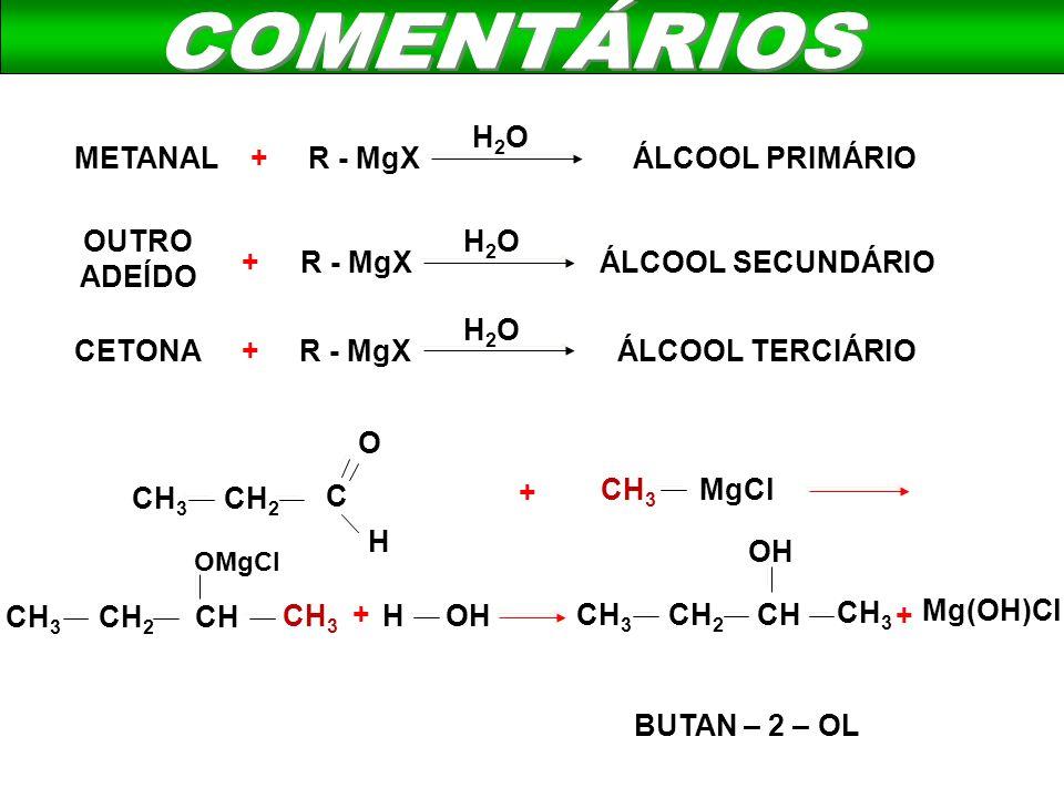 COMENTÁRIOS H2O METANAL + R - MgX ÁLCOOL PRIMÁRIO OUTRO ADEÍDO H2O +