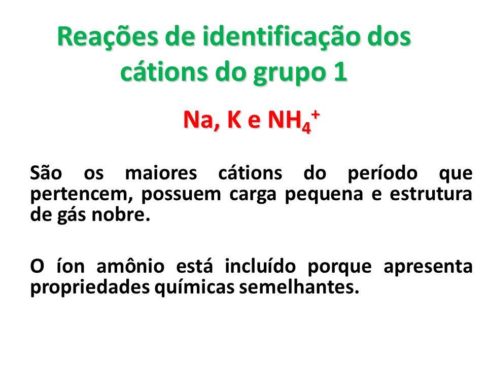 Reações de identificação dos cátions do grupo 1