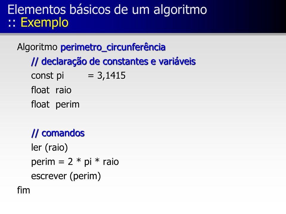 Elementos básicos de um algoritmo :: Exemplo