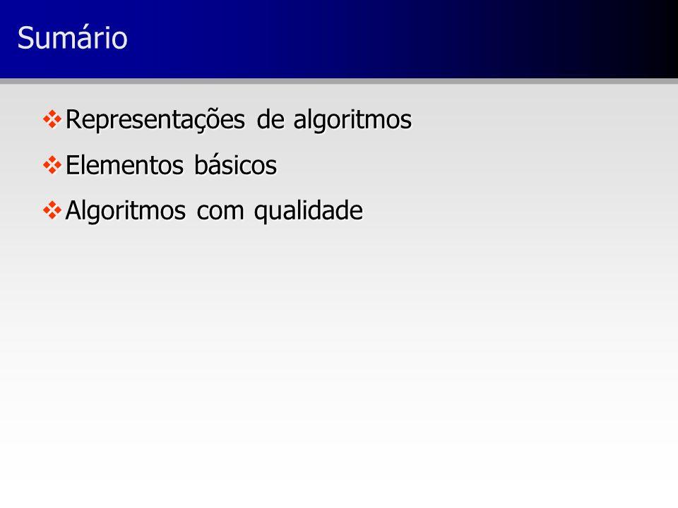 Sumário Representações de algoritmos Elementos básicos