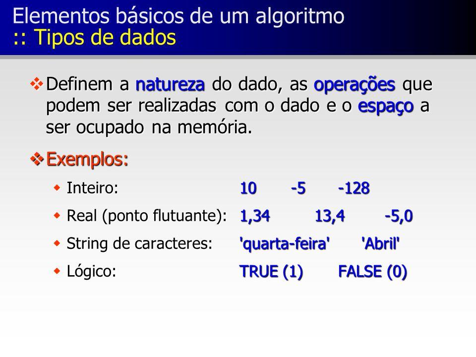 Elementos básicos de um algoritmo :: Tipos de dados