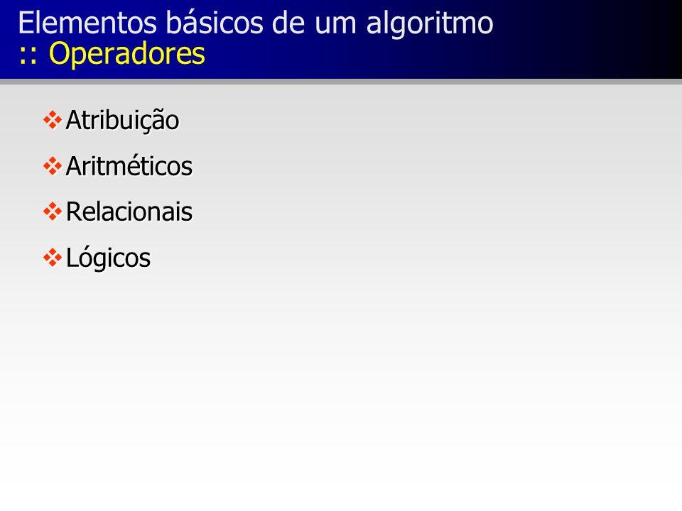 Elementos básicos de um algoritmo :: Operadores