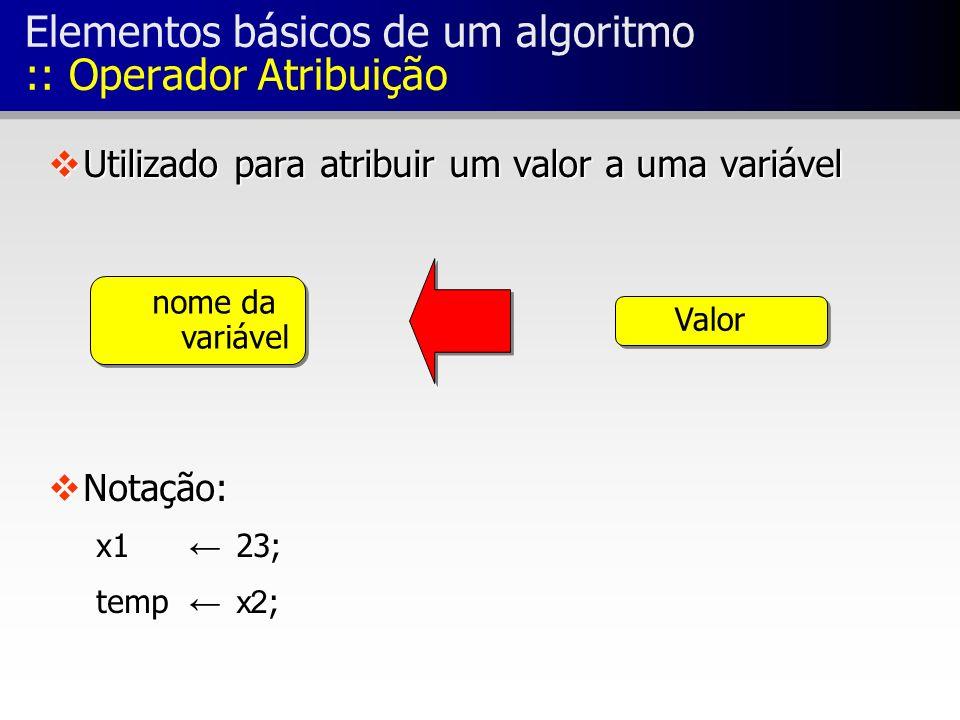 Elementos básicos de um algoritmo :: Operador Atribuição