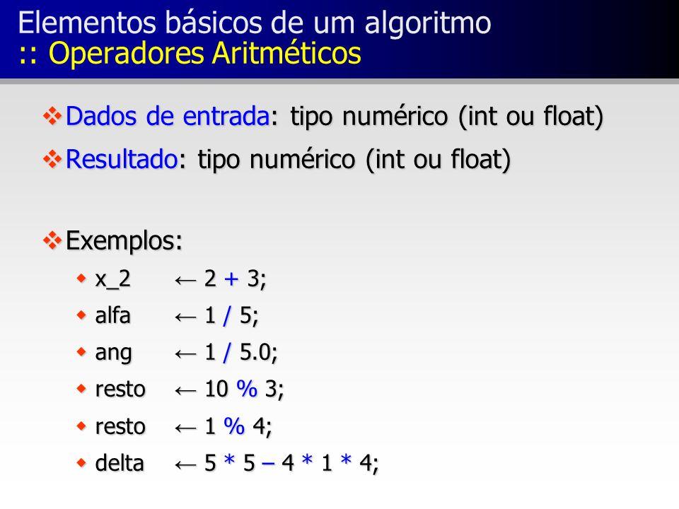 Elementos básicos de um algoritmo :: Operadores Aritméticos
