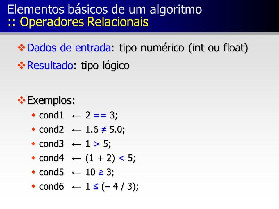 Elementos básicos de um algoritmo :: Operadores Relacionais
