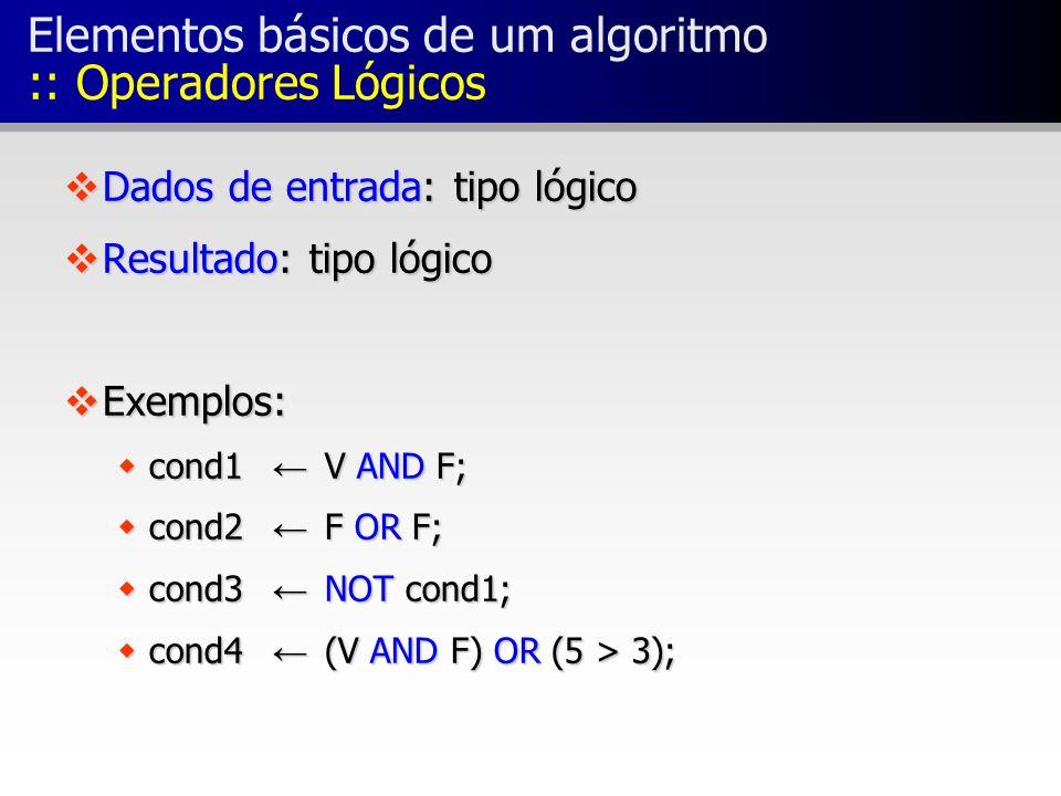 Elementos básicos de um algoritmo :: Operadores Lógicos