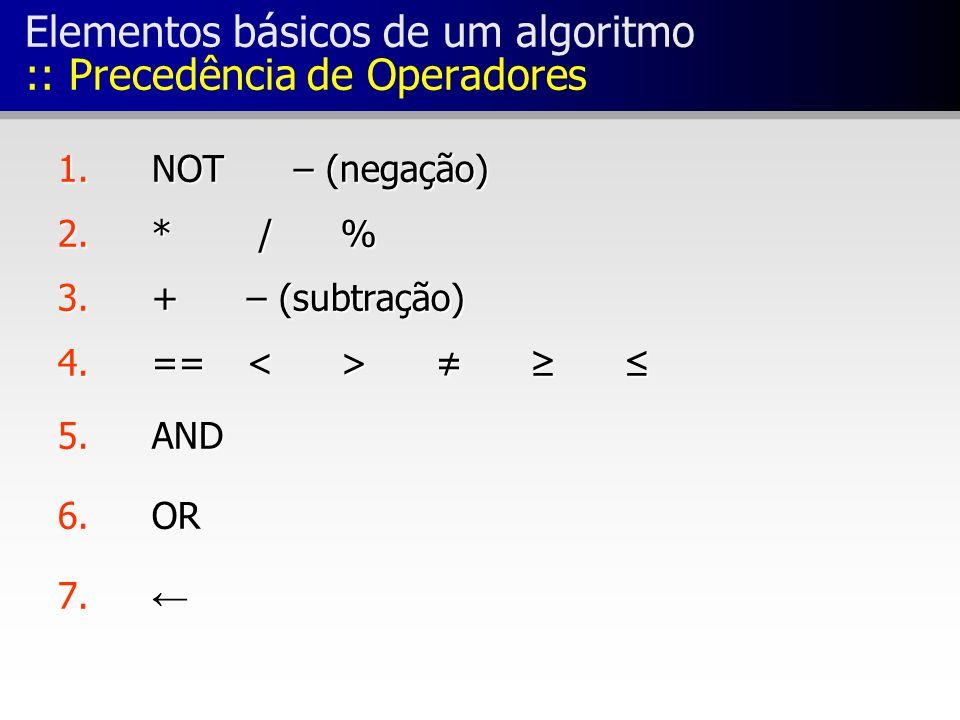 Elementos básicos de um algoritmo :: Precedência de Operadores