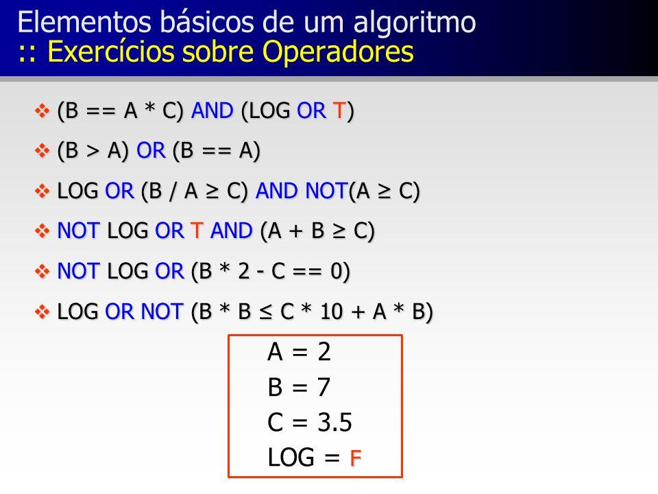 Elementos básicos de um algoritmo :: Exercícios sobre Operadores