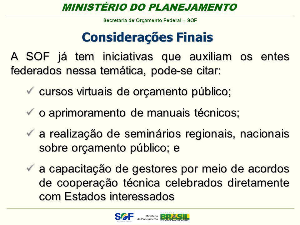 Considerações Finais A SOF já tem iniciativas que auxiliam os entes federados nessa temática, pode-se citar: