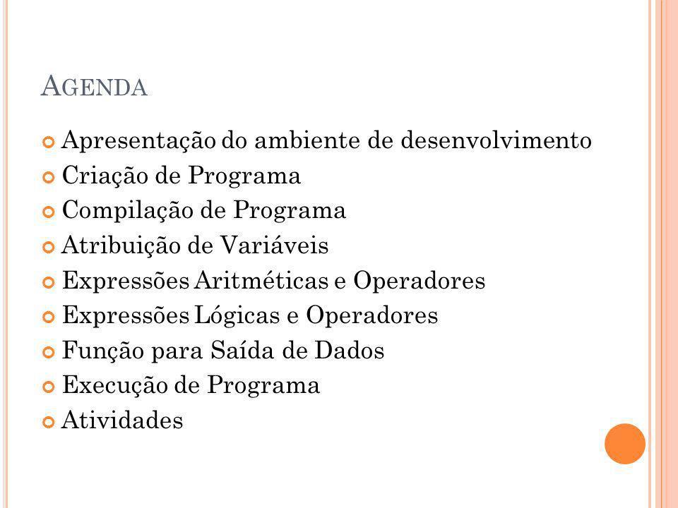 Agenda Apresentação do ambiente de desenvolvimento Criação de Programa