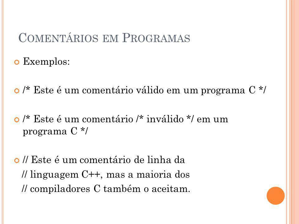 Comentários em Programas