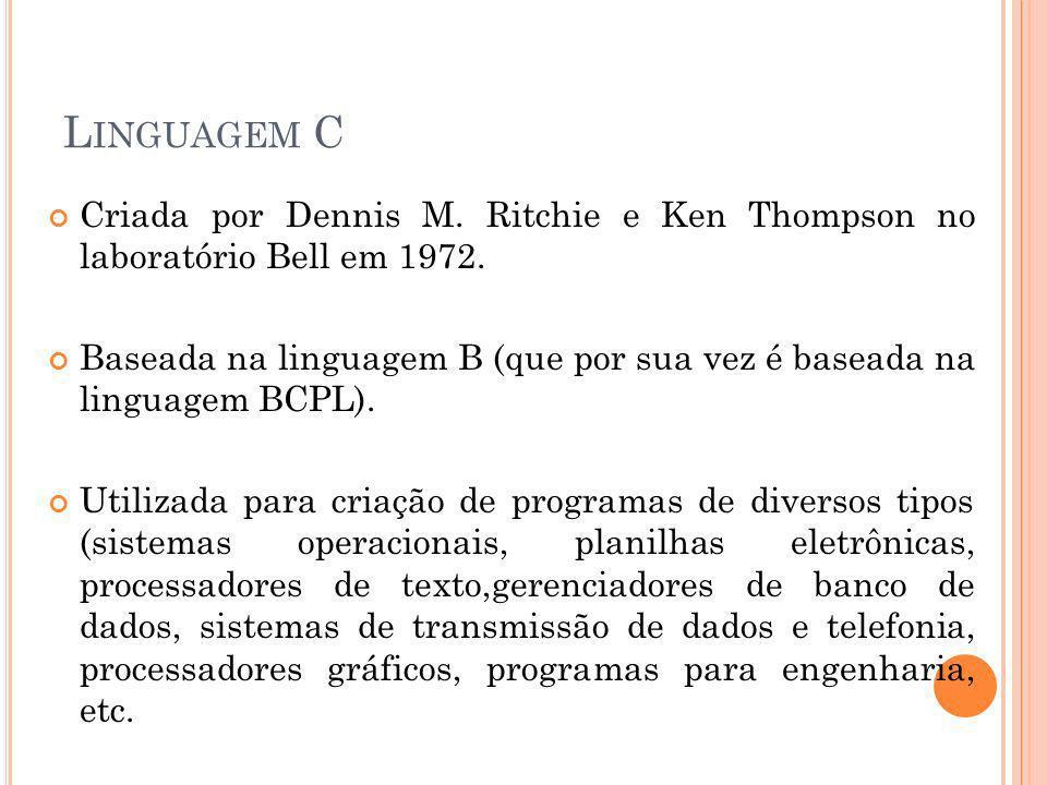 Linguagem C Criada por Dennis M. Ritchie e Ken Thompson no laboratório Bell em 1972.
