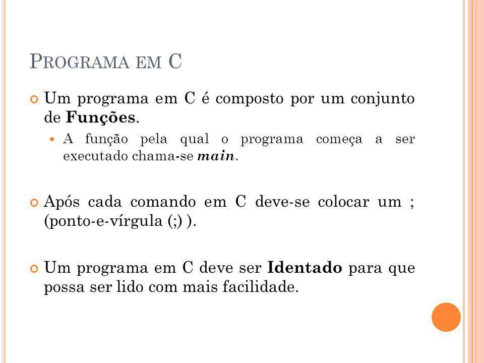Programa em C Um programa em C é composto por um conjunto de Funções.