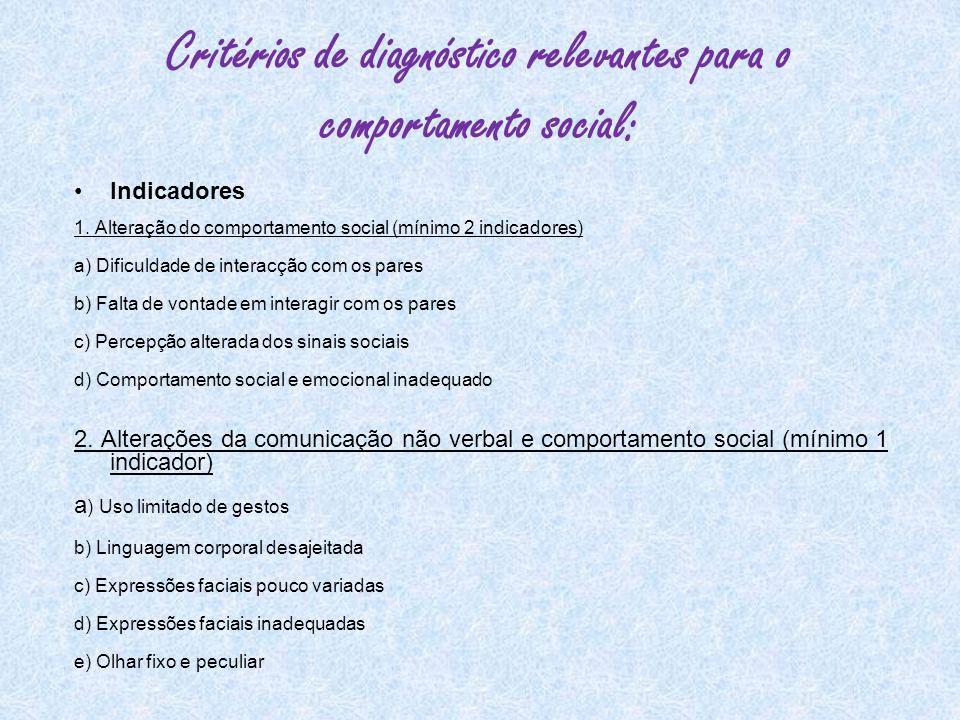 Critérios de diagnóstico relevantes para o comportamento social: