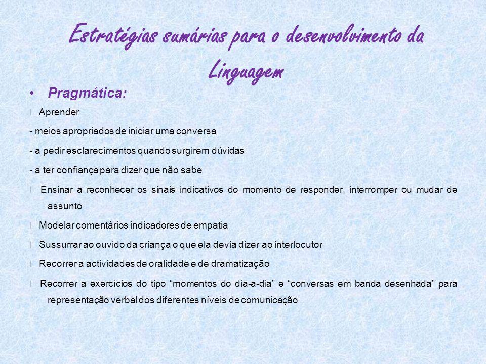 Estratégias sumárias para o desenvolvimento da Linguagem