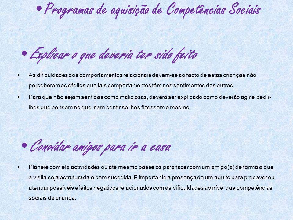 Programas de aquisição de Competências Sociais
