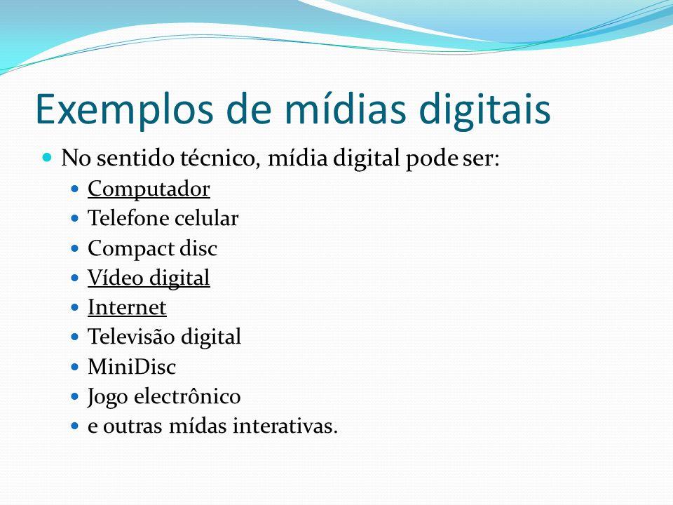 Exemplos de mídias digitais