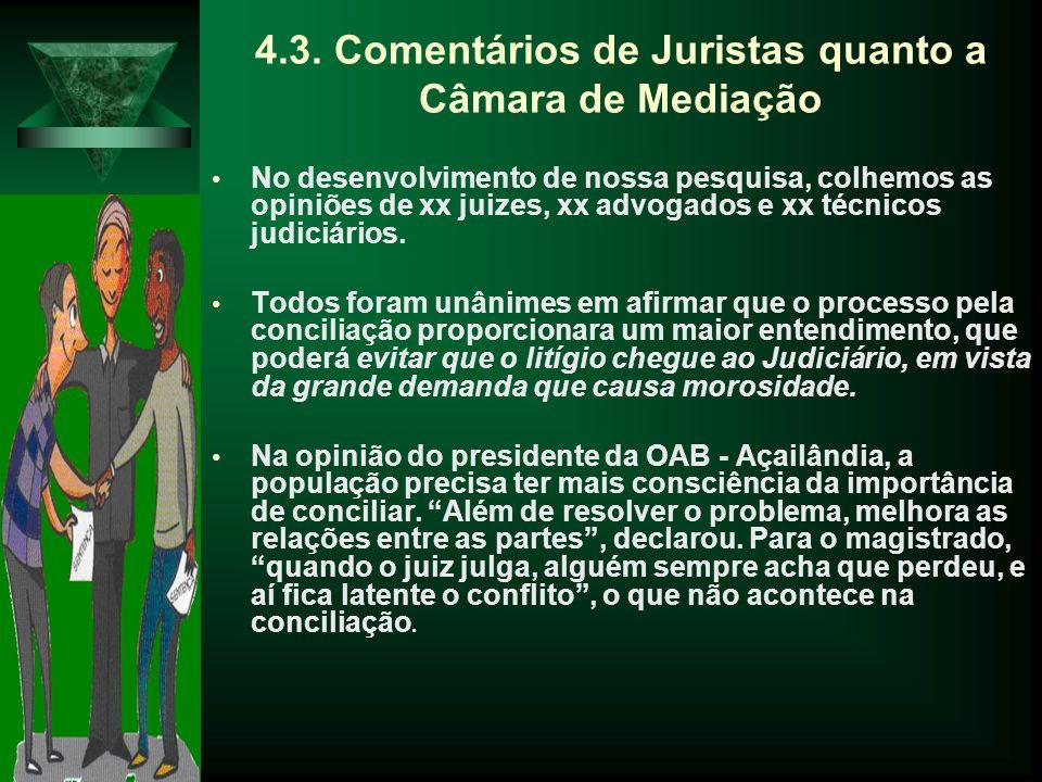 4.3. Comentários de Juristas quanto a Câmara de Mediação