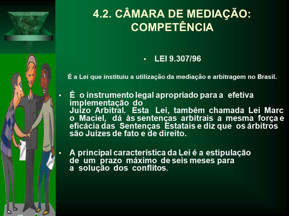 4.2. CÂMARA DE MEDIAÇÃO: COMPETÊNCIA