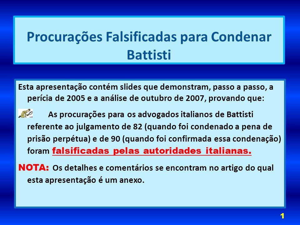 Procurações Falsificadas para Condenar Battisti