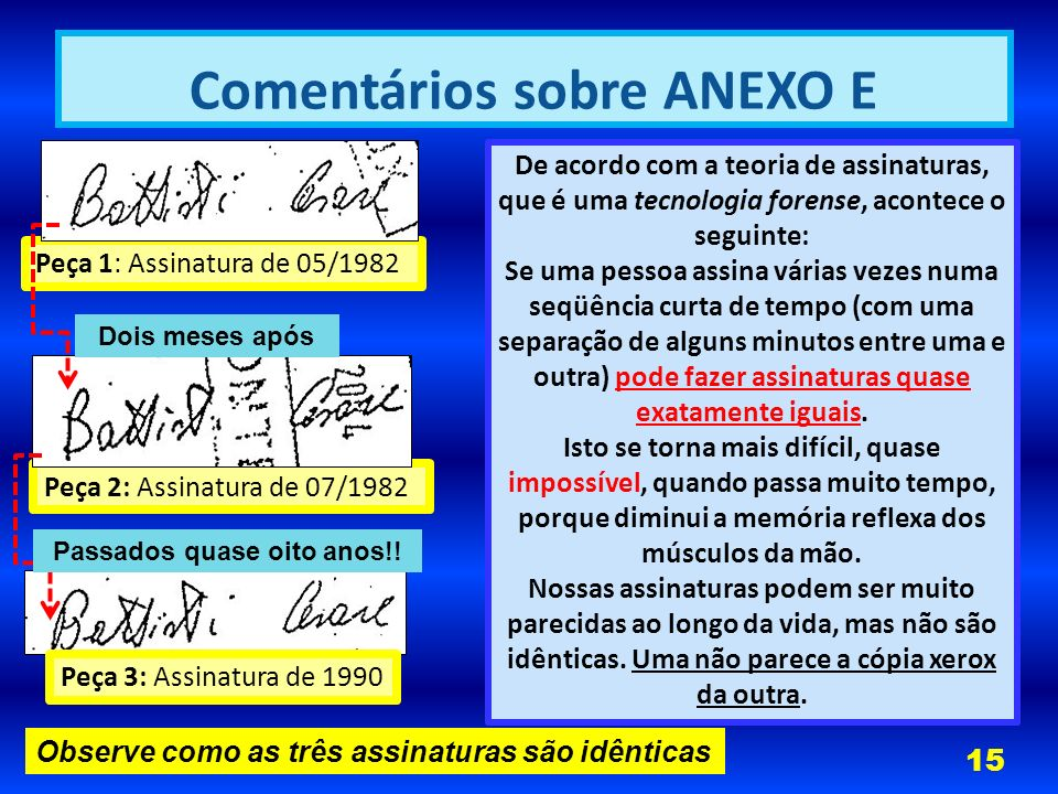 Comentários sobre ANEXO E Passados quase oito anos!!