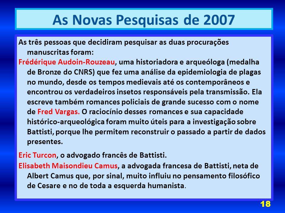 As Novas Pesquisas de 2007