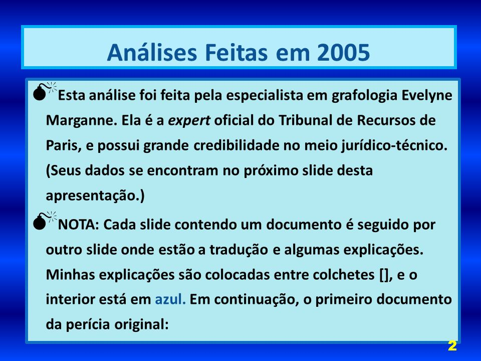 Análises Feitas em 2005