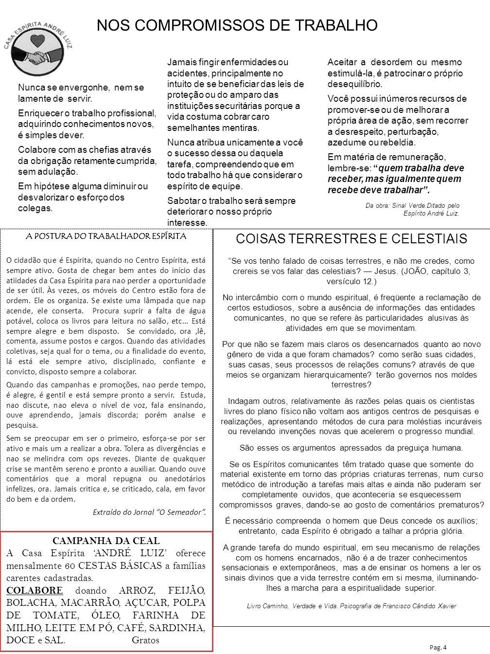 A POSTURA DO TRABALHADOR ESPÍRITA