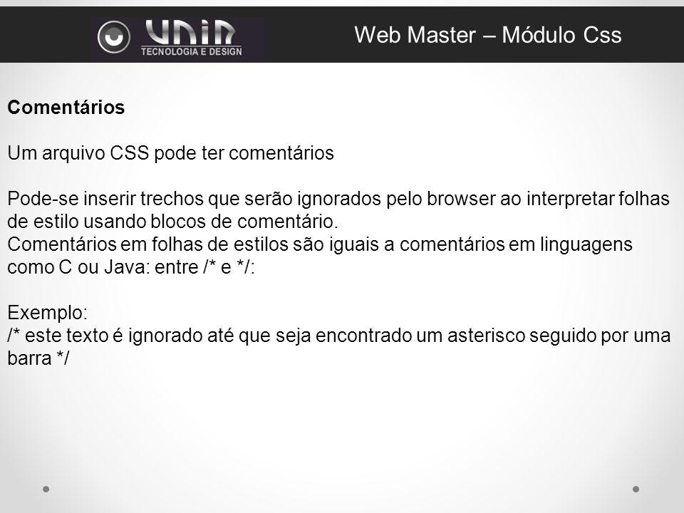 Web Master – Módulo Css Comentários