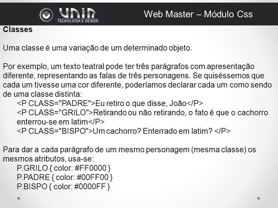 Web Master – Módulo Css Classes