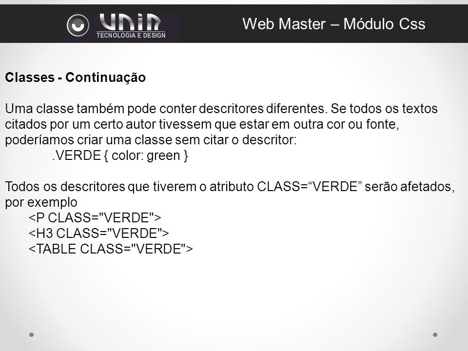 Web Master – Módulo Css Classes - Continuação