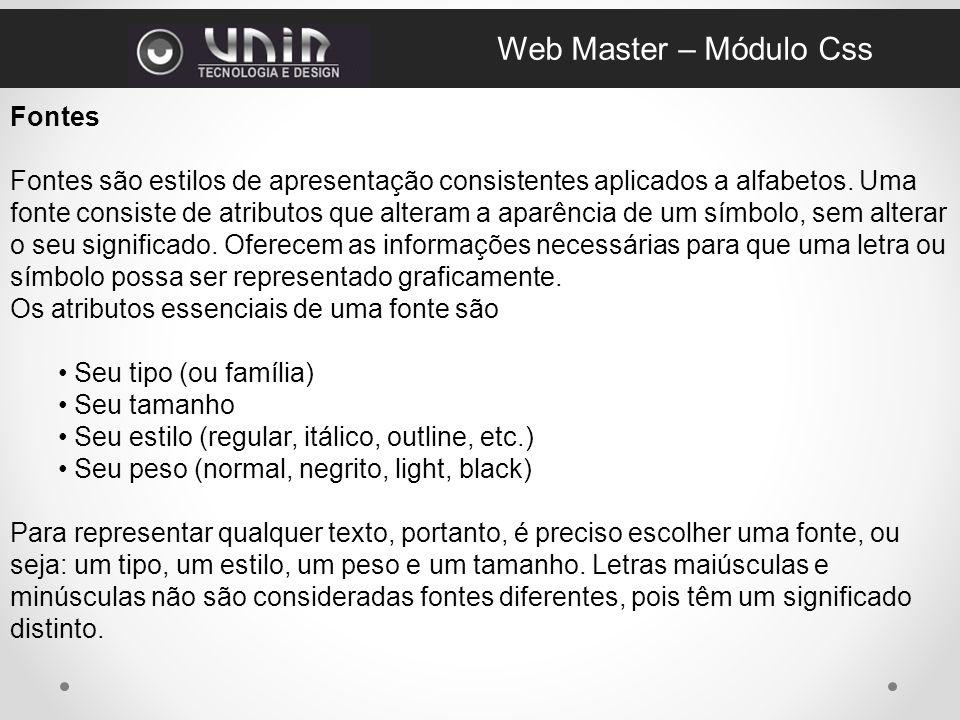 Web Master – Módulo Css Fontes