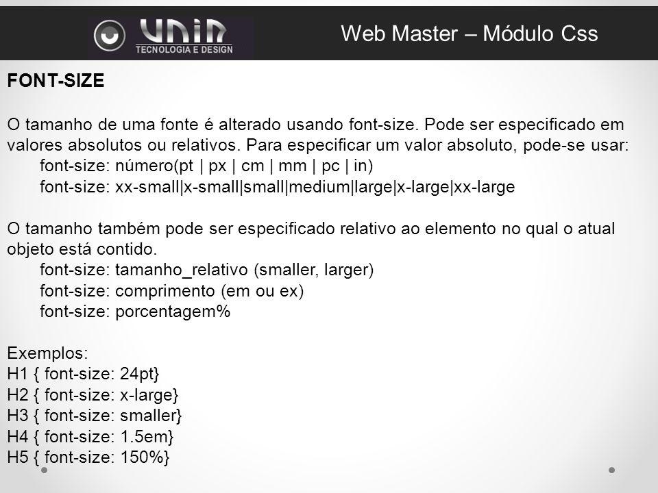 Web Master – Módulo Css FONT-SIZE