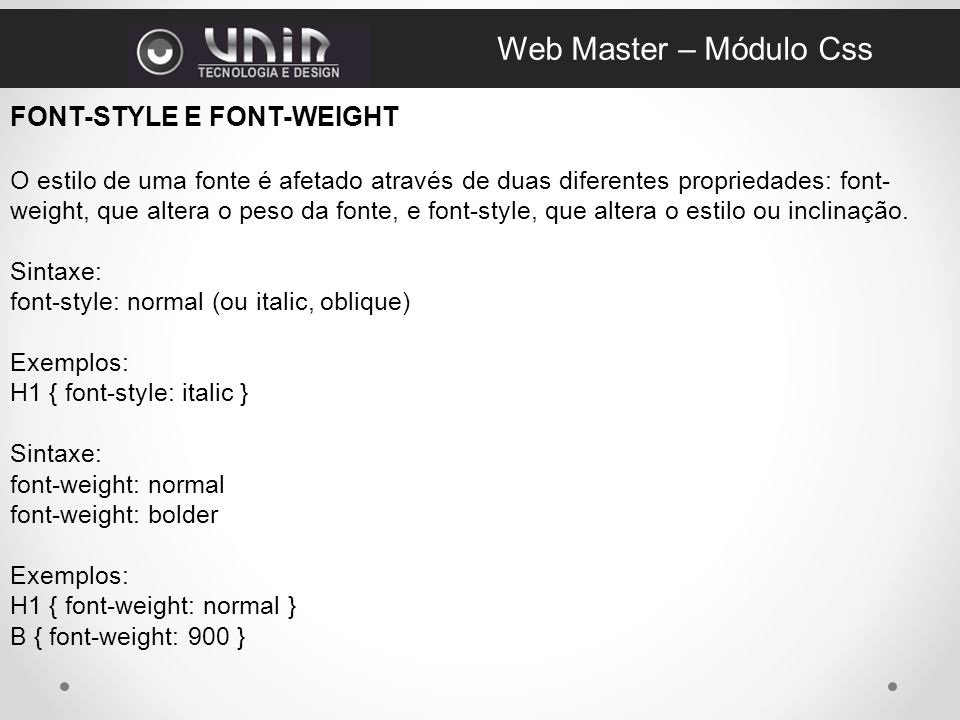 Web Master – Módulo Css FONT-STYLE E FONT-WEIGHT