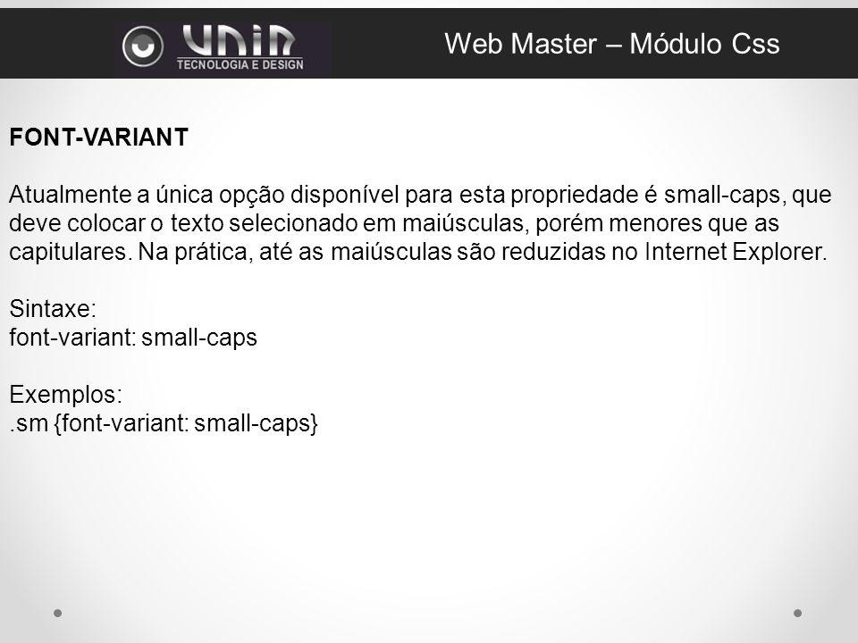 Web Master – Módulo Css FONT-VARIANT