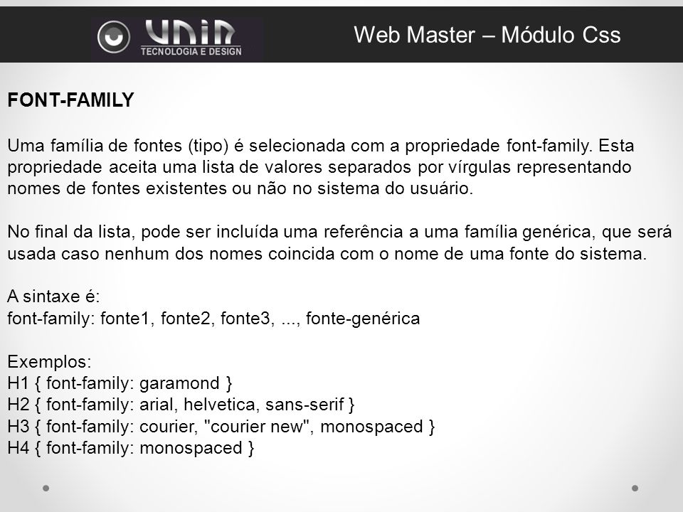 Web Master – Módulo Css FONT-FAMILY