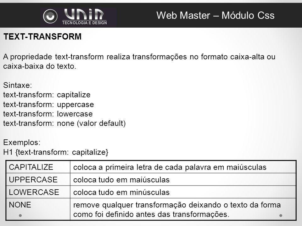 Web Master – Módulo Css TEXT-TRANSFORM